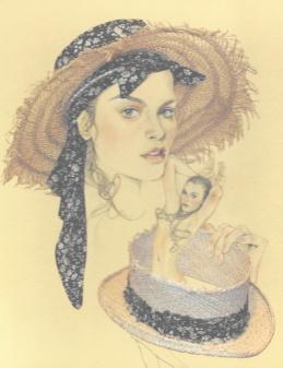 Manon-capeline en paille et galon en coton liberty-effrangée-Maison Michel-PE 2010