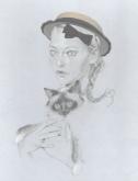 Melanie-canotier paille eavec un rang de perlesMaison MichelPE -2010