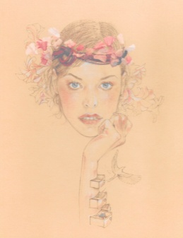 Scarlett-headband perles et chaine:Andrea-couronne de fleur en organza-Maison Michel-PE 2010-10